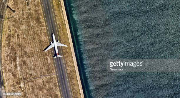 Aerial view of Sydney International Airport. Australia
