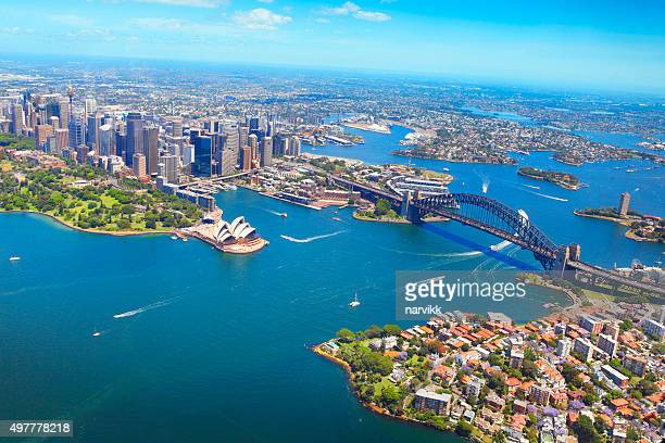 aerial view of sydney - sydney stock pictures, royalty-free photos & images