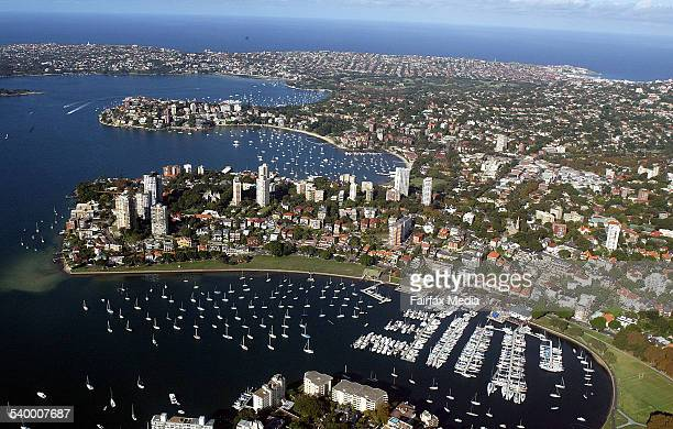 Aerial view of Sydney's eastern suburbs Rushcutters Bay Double Bay and Rose Bay 8 April 2005 SHD Picture by KRISTJAN PORM