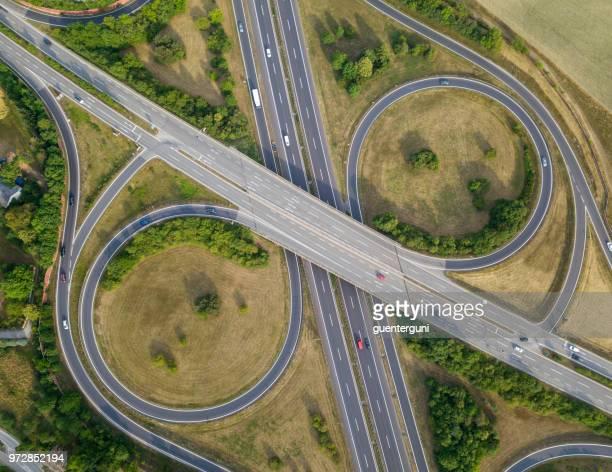 Aerial view of symetric highway interchange, Austria