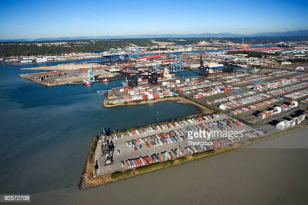 Aerial view of Tacoma industrial port