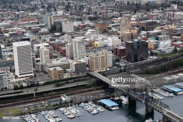 Aerial view of Tacoma Washingtonon December 18 2017 in Dupont Washington At least six people were killed when a passenger train car derailed nearby...