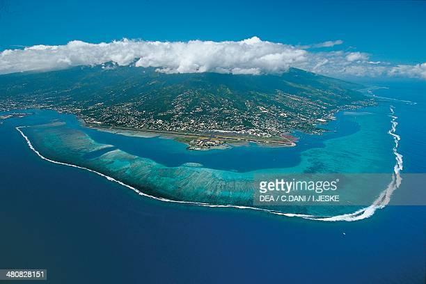 Aerial view of Tahiti Island - Society Islands, Windward Islands, French Polynesia