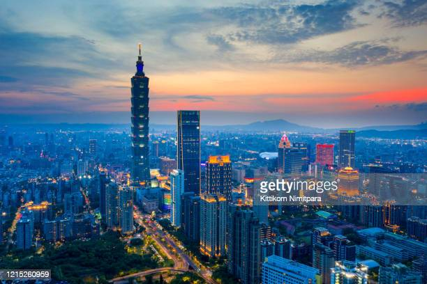 aerial view of tai pei 101 building at night. - taiwan stock pictures, royalty-free photos & images