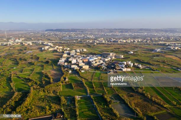 aerial view of taichung suburbs, taiwan - town stock pictures, royalty-free photos & images