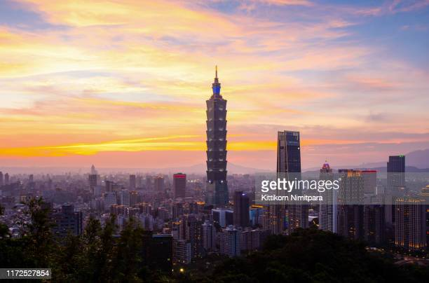 aerial view of taipei during sunset. - 台北市 ストックフォトと画像