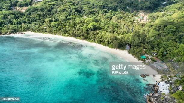 Aerial view of Takamaka Beach -  Mahe Island - Seychelles