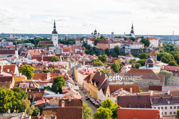 aerial view of tallinn cityscape on a sunny day, estonia - estonia stock pictures, royalty-free photos & images
