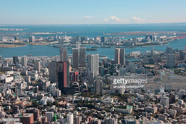 Aerial view of Tamachi station, Minato ward, Tokyo Prefecture, Honshu, Japan