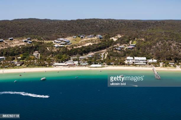 Aerial View of Tangalooma Beach Moreton Island Brisbane Australia