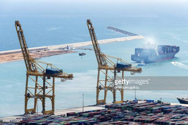 Aerial view of tanker ship at port in Barcelona, Spain