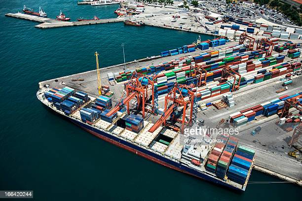 Aerial view of tanker ship at port