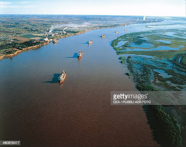 Aerial view of tankers on the Parana' River in front of the Santa Fe' industrial area Santa Fe Province Argentina
