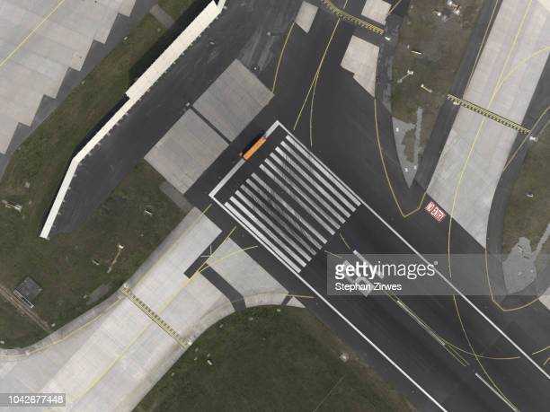 Aerial view of tarmac at airport