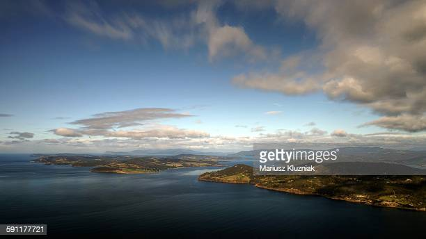 Aerial view of Tasmania coastline