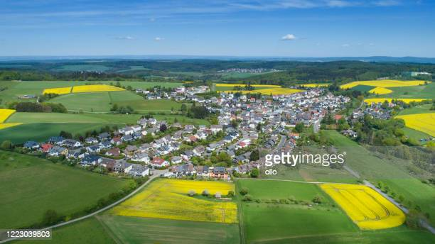 aerial view of taunusstein-orlen, germany - hesse germany stock pictures, royalty-free photos & images