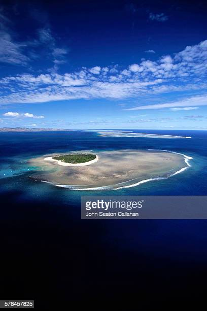 aerial view of tavarua island - western division fiji stock photos and pictures