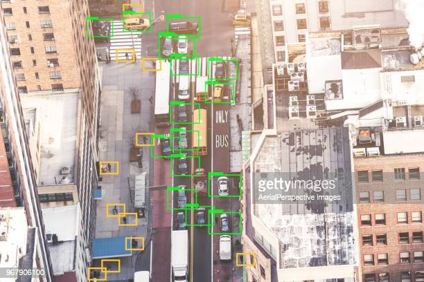 aerial view of taxis, manhattan, new york city - driverless transport stock pictures, royalty-free photos & images