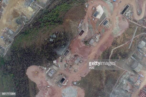 Aerial view of Tencent's biggest data center under construction in the mountainous area of the hinterland on March 13 2018 in Anshun Guizhou Province...