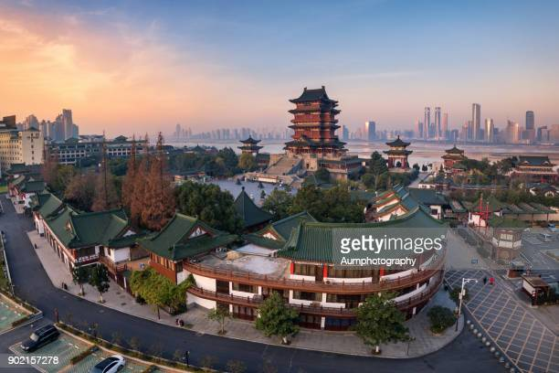 Aerial view of Tengwang pavilion in the morning.