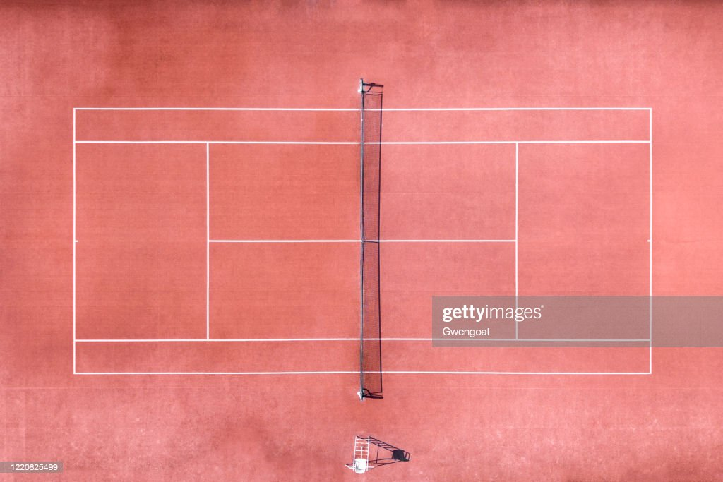 Aerial view of tennis court : Stock Photo