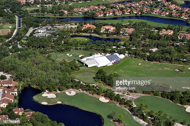 Aerial view of tents set up for Michael Jordan and Yvette Prieto's wedding at the Bear's Club on April 27 2013 in Jupiter Florida The wedding took...