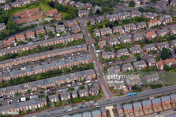 Aerial view of terraced housing in Gateshead
