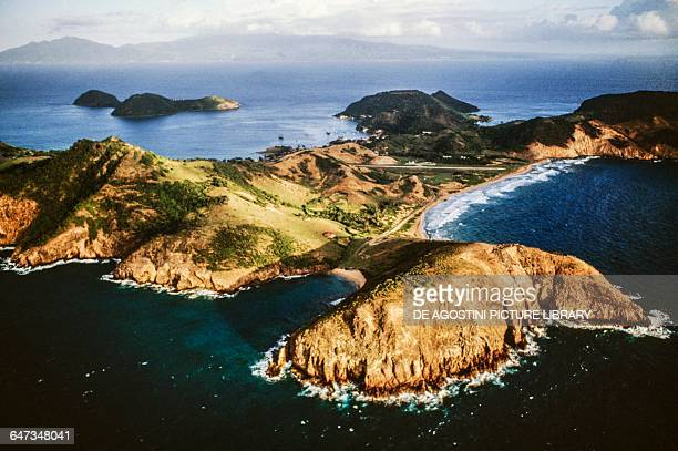 Aerial view of TerredeHaut island Les Saintes archipelago Guadeloupe Overseas department of the French Republic