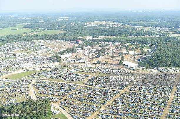 Aerial view of the 2014 Bonnaroo Music Arts Festival on June 15 2014 in Manchester Tennessee