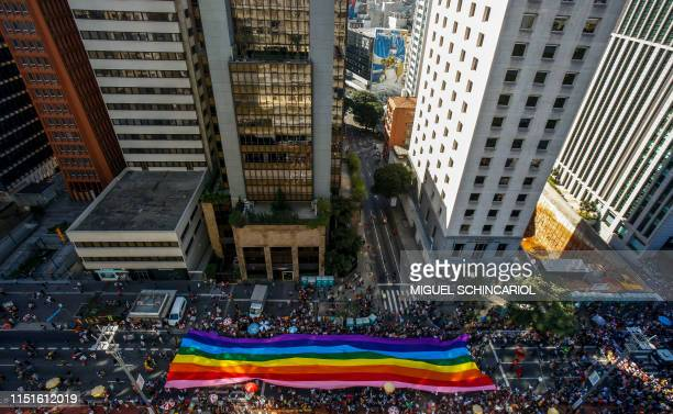 """Aerial view of the 23rd Gay Pride Parade, which theme is """"50 years of Stonewall"""", in Sao Paulo, Brazil on June 23, 2019."""
