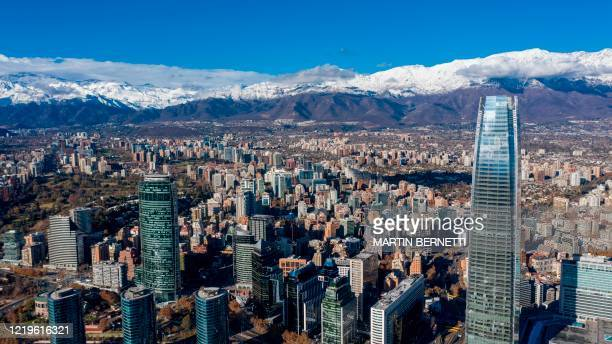 Aerial view of the 400m-high Costanera Center Tower, considered to be the highest in Latin America, and one of the main tourist spots in Santiago now...