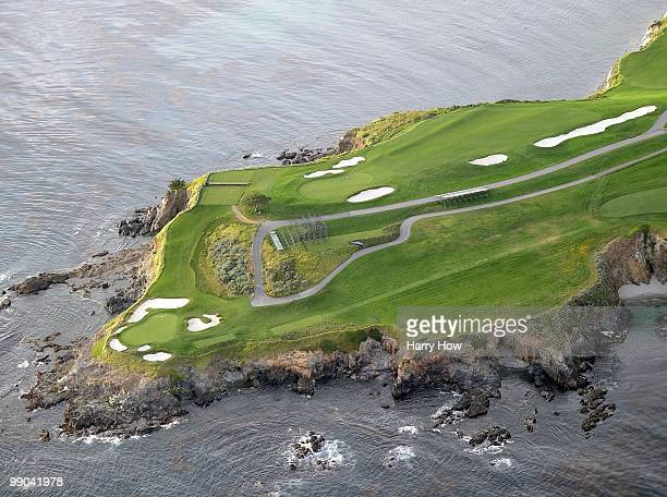 Aerial view of the 6th and 7th hole at the Pebble Beach Golf Links on May 9 2010 in Pebble Beach California
