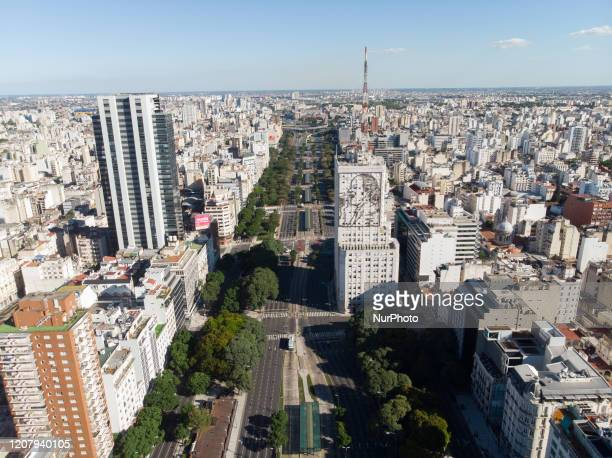 Aerial view of the 9 de Julio during de second day of quarantine in Buenos Aires Argentina on March 22 2020 during the quarantine for preventing the...