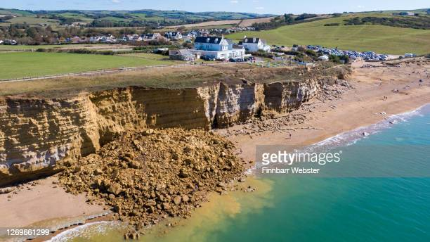 Aerial view of the 9,000 ton cliff fall on August 30, 2020 in Burton Bradstock, Dorset. The fall happened at Hive Beach near the village of Burton...