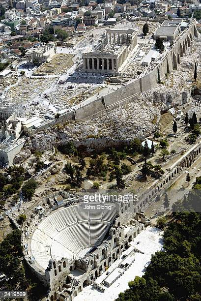 Aerial view of The Acropolis in Athens Greece one year before the Olympic games are due to start Greece are preparing to host the XXVIII Olympic...