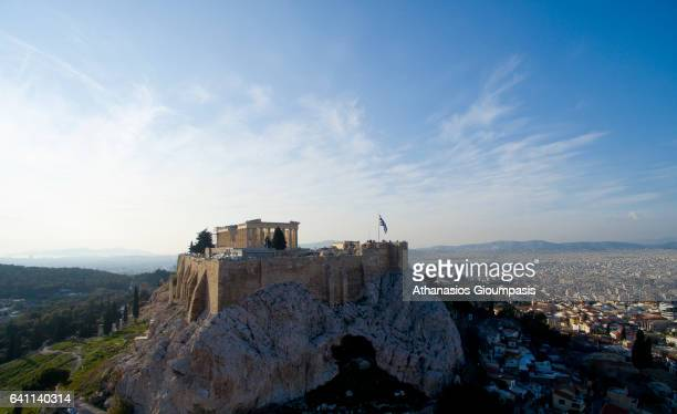 Aerial view of The Acropolis of Athens on February 02 2017 in Athens Greece