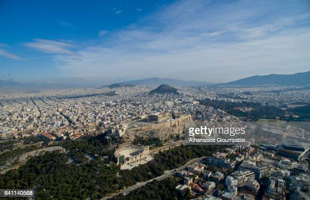 Aerial view of The Acropolis of Athens on February 04 2017 in Athens Greece