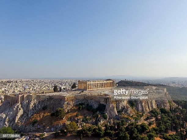 Aerial view of The Acropolis of Athens on May 27 2016 in Athens Greece The Acropolis of Athens is an ancient citadel located on a extremely rocky...