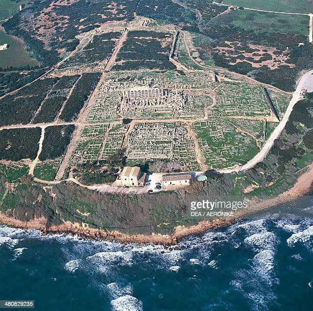 Aerial view of the Acropolis of the Archaeological Park of Selinunte Province of Agrigento Sicily Region Italy