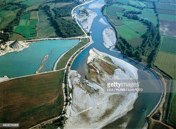 Aerial view of the Adda River near Rivolta d'Adda Province of Cremona Lombardy Region Italy