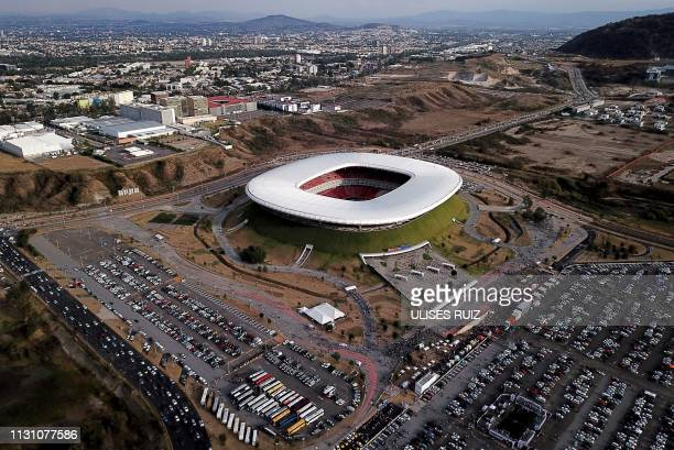 Aerial view of the Akron stadium in Guadalajara, Jalisco State, Mexico, taken on March 16, 2019 before the Mexican Clausura football tournament match...