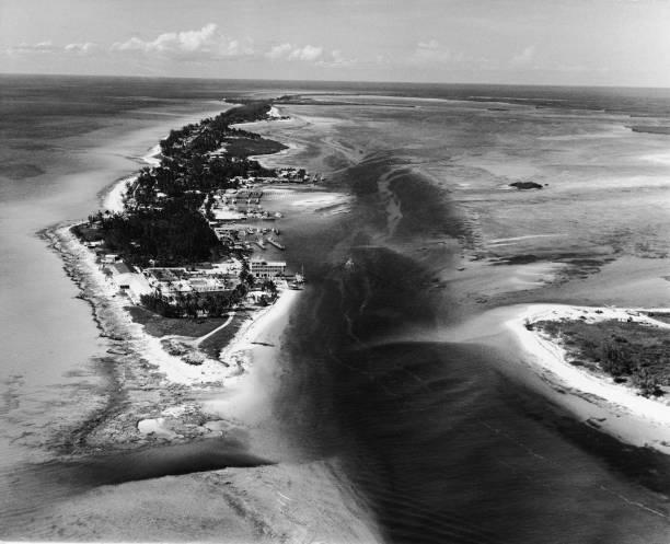 Aerial view of the Alice Town shoreline on North Bimini...