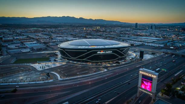Aerial view of the Allegiant Stadium, Las Vegas Raiders
