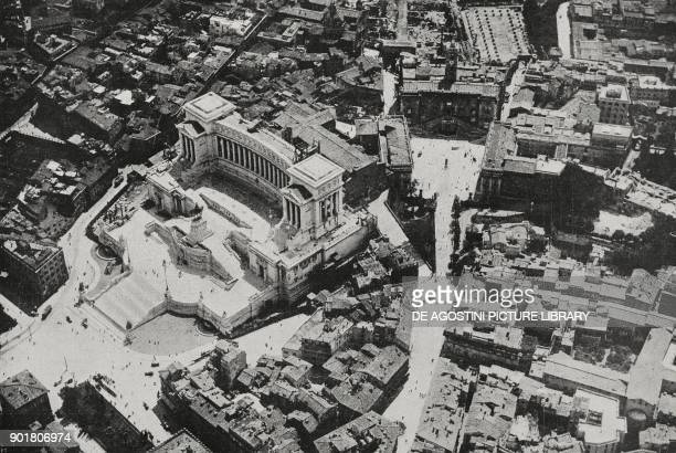 Aerial view of the Altare della Patria and Capitoline hill Rome Italy from L'Illustrazione Italiana Year L No 34 August 26 1923