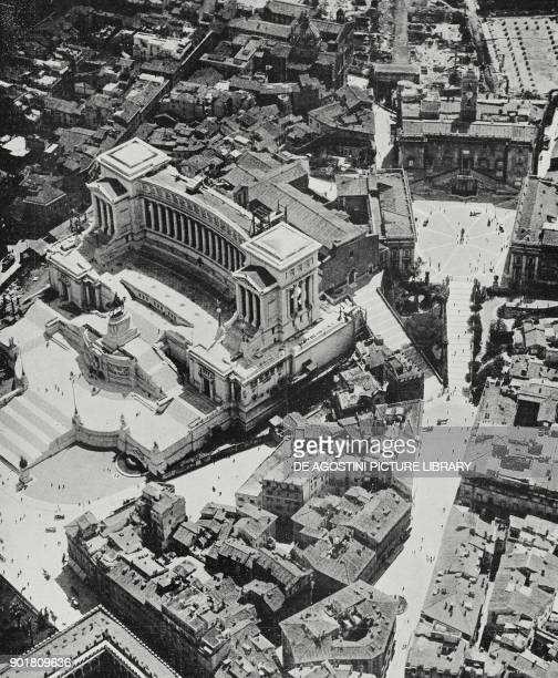 Aerial view of the Altare della Patria and Capitoline hill Rome Italy from L'Illustrazione Italiana Year LI No 41 October 12 1924