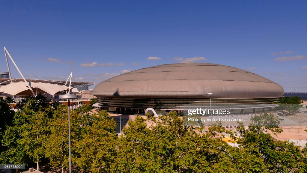 Aerial view of the Altice Arena in Parque das Naçoes, Lisbon, Portugal : Foto de stock