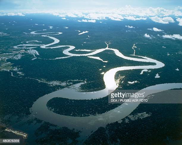 Aerial view of the Amazon River near Iquitos Loreto Region Peru
