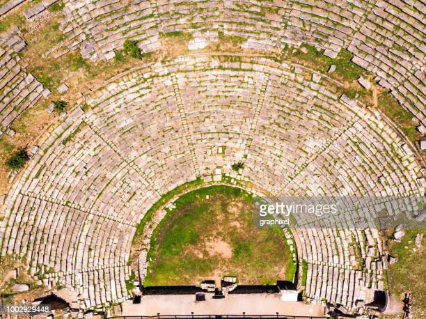 aerial view of the ancient city nysa - old ruin stock photos and pictures