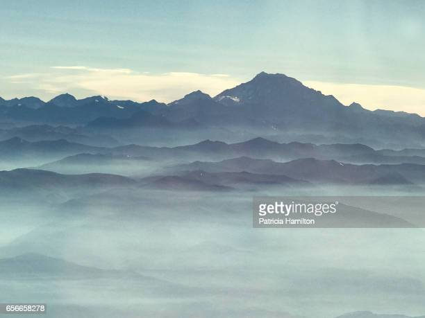 Aerial view of the Andes mountains, approaching Santiago