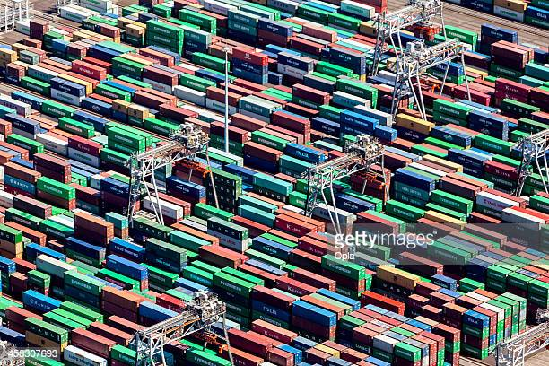 aerial view of the apm container terminal in rotterdam, netherla - rotterdam stock pictures, royalty-free photos & images